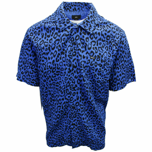 OBEY Men's Blue Leo Leopard Print S/S Shirt (Retail $59.99) S14