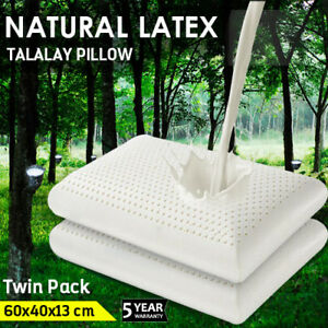 2x-100-NATURAL-TALALAY-LATEX-PILLOW-SLEEPING-SUPPORT-FINE-WHITE-STRETCH-COVER