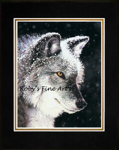 Matted-Gray-Wolf-Art-Print-034-Eye-Of-The-Storm-034-8x10-Mat-Giclee-by-Roby-Baer-PSA