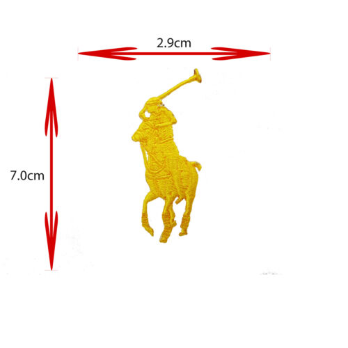 YELLOW HORSE POLO SPORTS BRAND LOGO IRON ON//SEW ON EMBROIDERED PATCH BADGE