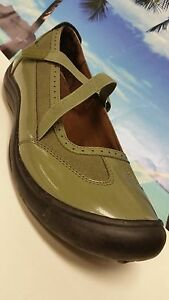 Women-039-s-LANDS-039-END-Mary-Jane-Shoes-Green-Patent-amp-Suede-Size-9B-EXCELLENT