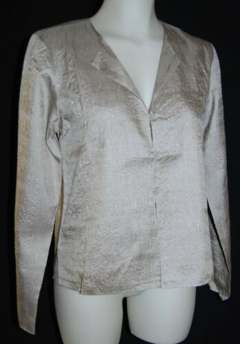 New EILEEN FISHER Beechwood Shimmering Silk Roundneck Jacket Size S $278 NWT