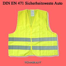 Warnweste DIN EN 471 GELB Sicherheitsweste Pannenweste Unfallweste Einheitsgröße