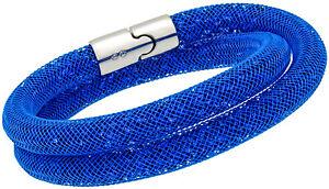 Swarovski-Stardust-Capri-Bleu-Nylon-Tube-Petit-Double-Bracelet-For-Femme-5186426