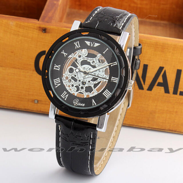 Fashionable Casual Faux Leather Hollow Skeleton Dial Men Women Business Watch