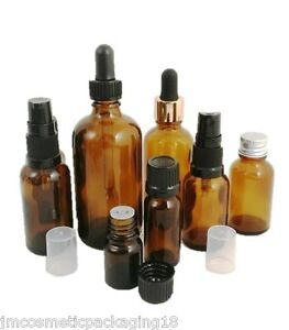 Amber-Glass-Dropper-Bottle-10ml-100ml-Size-Aromatherapy-Herbals-Oils-CHOOSE-CAP