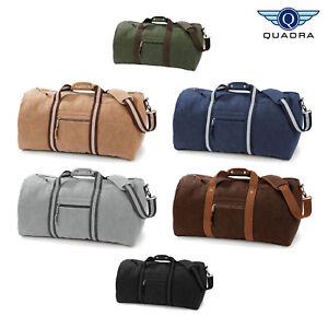 9cc4f7fb1 Image is loading Quadra-Vintage-Canvas-Duffle-Holdall-Bag-QD613-Travel-