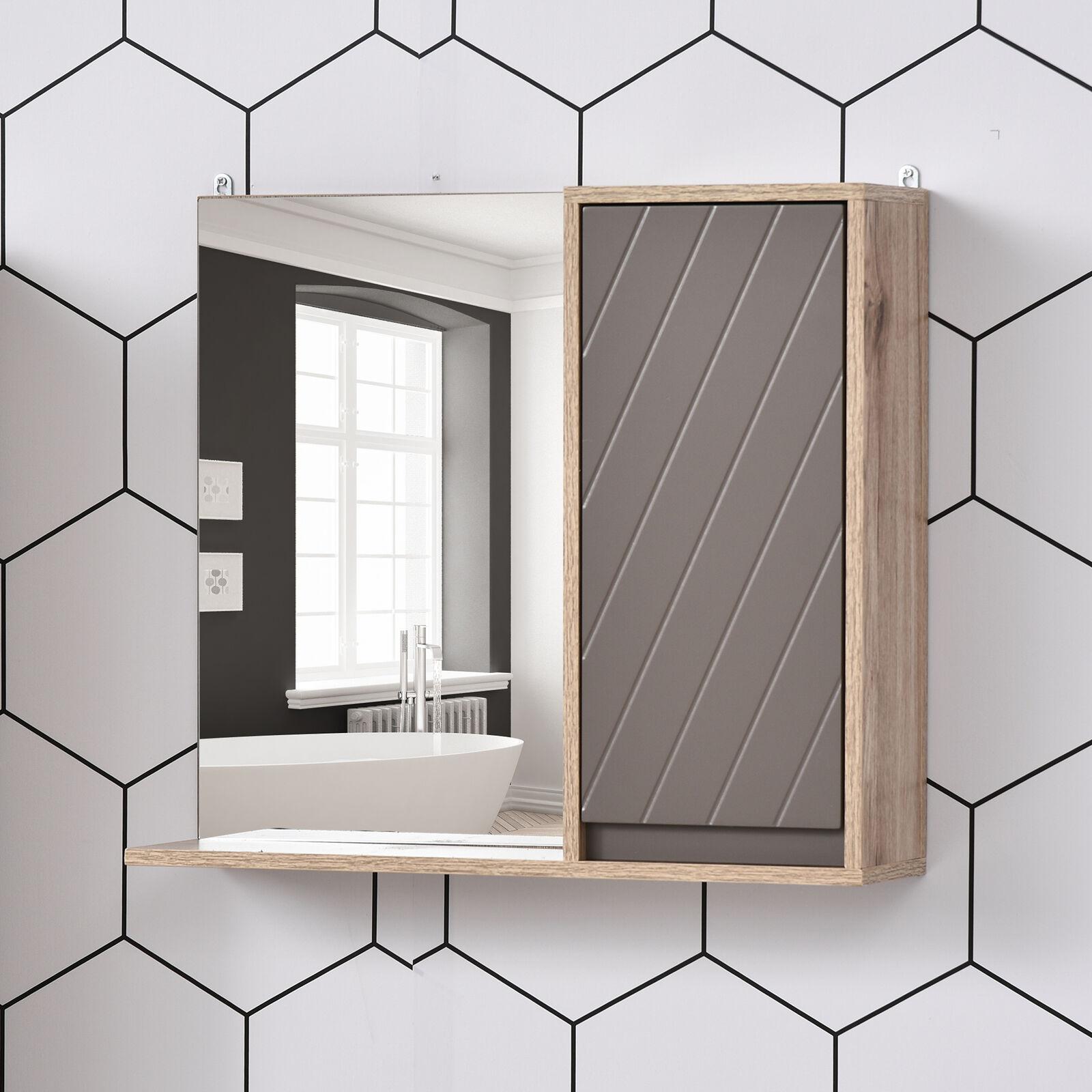 Armario de Baño con Espejo con Puerta y Estante Ajustable 57x14,2x49,2 cm Roble