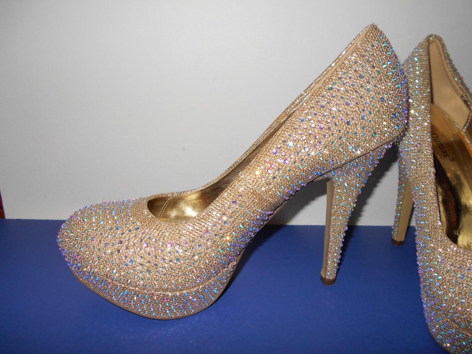 Formal PIERRE DUMAS gold AB Rhinestone Platform High Heel shoes size 10
