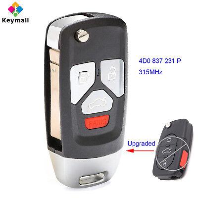 Car Flip Key Fob Keyless Entry Remote fits 2002 2003 2004 Audi A4 A6 A8 Allroad Cabriolet RS6 S4 S6 S8 TT Quattro MYT8Z0837231