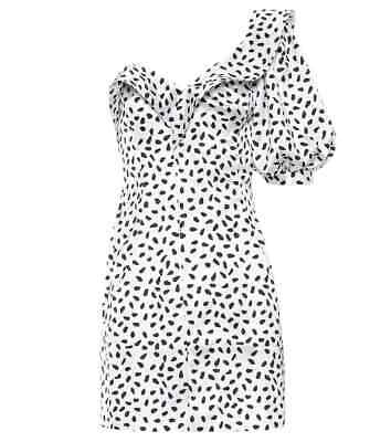 Self Portrait Women's White Black Polka Dot Printed Dress Size 12 New With Tags