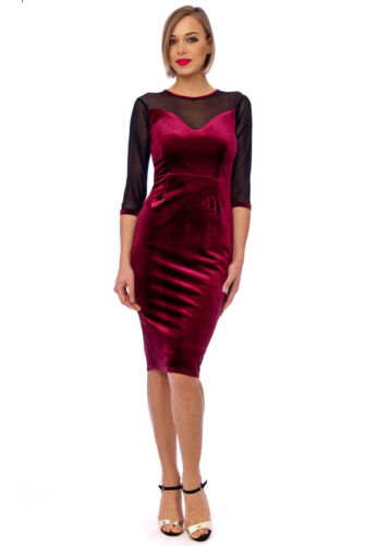 Wine Velvet /&  Mesh Evening Bodycon Pencil Cocktail Hollywood Wiggle Party Dress