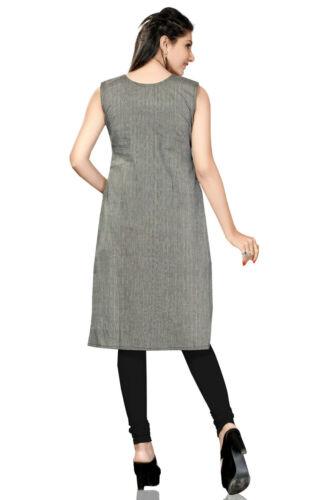 Indian Ethnic Black White Cotton Kurti Kurta Dress Top Tunic Shirt for Women 284