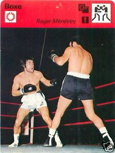 FICHE CARD : Roger Menetrey FRANCE Billy Backus USA Etats-Unis BOXE BOXING 70s