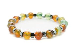 Agate-Natural-Beaded-Bracelet-Chakra-Healing-Men-Women-DT443