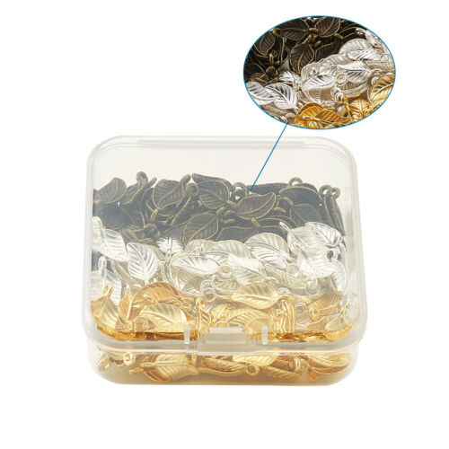 120pc Tibetan Alloy Leaf Pendants Metal Dangle Charms For Earring Jewelry 14x7mm