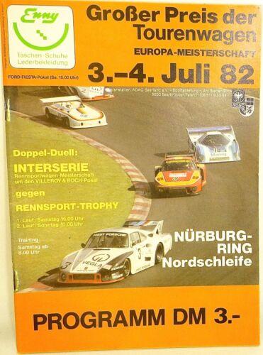 3.-4. Juli 82 Großer Preis der Tourenwagen EURO Nürburgring PROGRAMMHEFT å X06 *