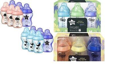 New 6x Tommee Tippee  260ml 9oz Feeding Bottles Night BBA FREE Blue Pink