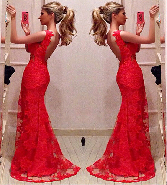 Red Bodycon Mermaid Evening Bridal Party Gowns Long Prom Dresses Custom Size