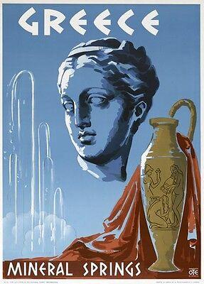 Vintage Greece Greek Sports Motor Car Travel Poster Art Re-Print A4
