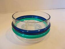 Pfaltzgraff ocean breeze blue green band stripe hand blown rare candle holder