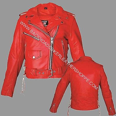 Ladies Red Leather Vest Motorcycle Biker Cowhide Leather