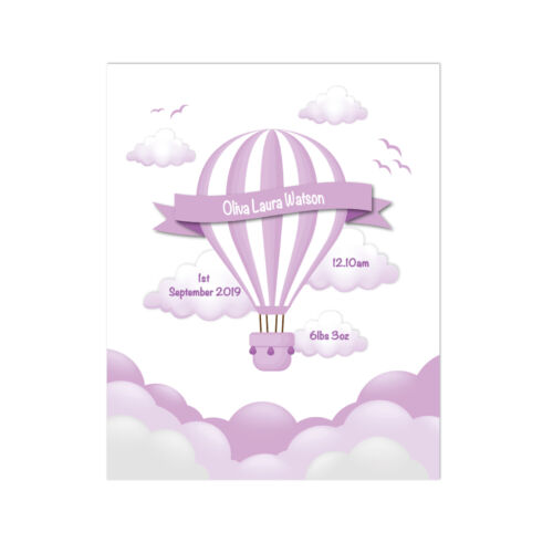 Hot Air Balloon New Baby Gift Personalised Birth Announcement Birth Print