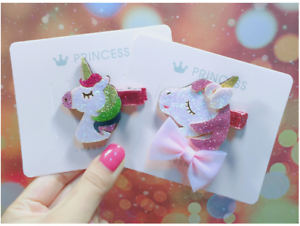 2PCS UNICORN Hair Clips Sides Kids Girl baby Rainbow Bow Sparkling Hairclips
