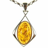 Orange Baltic Amber Sterling Silver 925 Women's Pendant Jewellery Jewelry