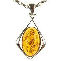 Orange Baltic Amber Sterling Silver 925 Women's Pendant Jewellery Jewelry