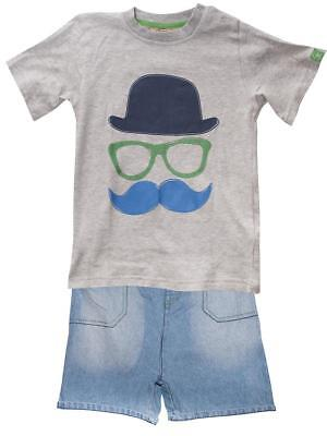 Boys T-Shirt Denim Shorts Outfit Hat Glasses Fashion Kids 12 Months to 7 Years