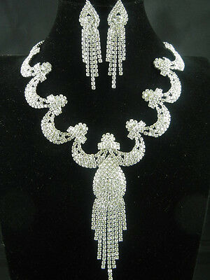 Fashion Chic Silver Plated Clear Rhinestone Necklace Earring Jewelry Set B-101