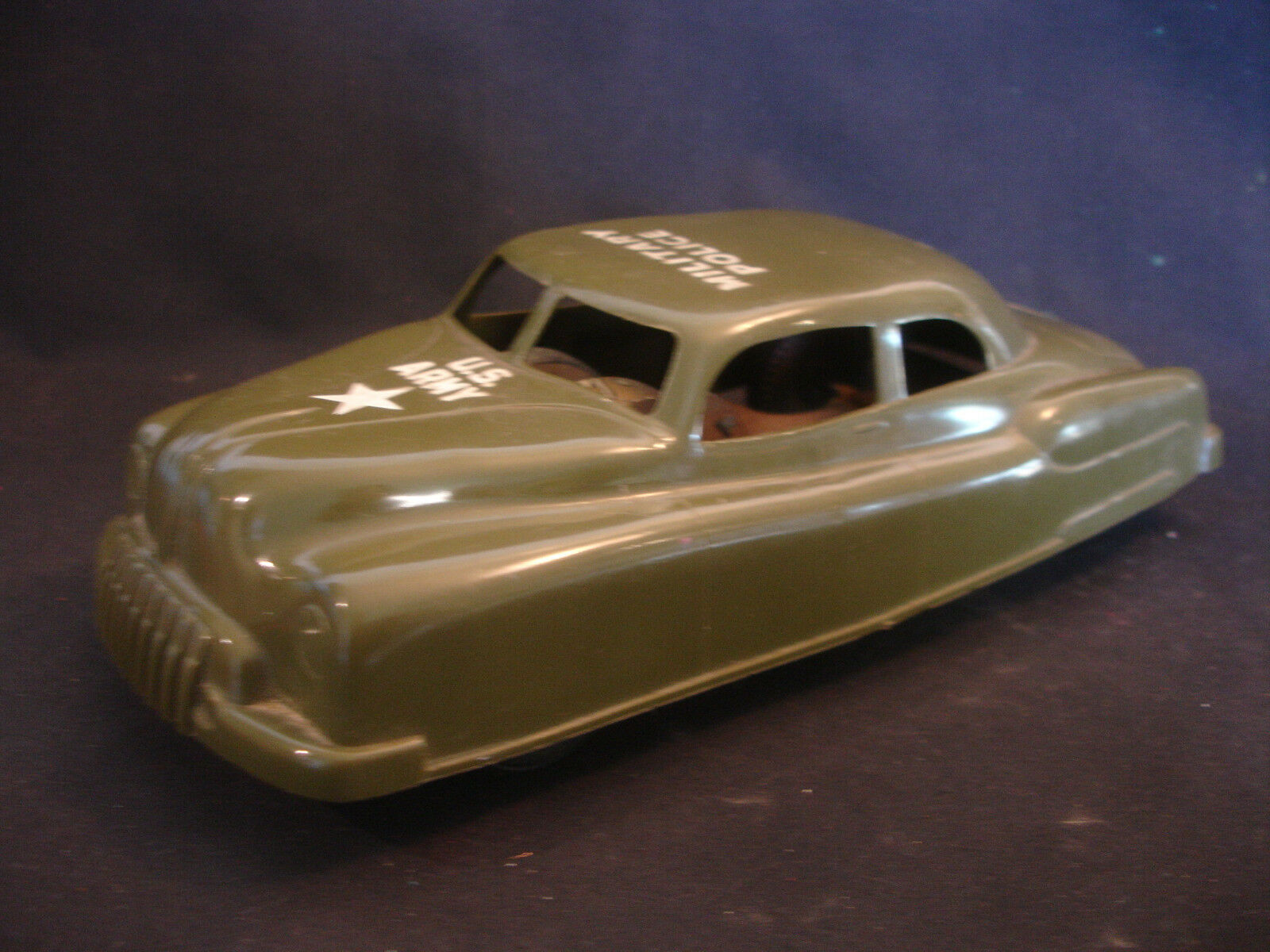 Old Vtg Friction Collectible Plastic Military Police U.S Army Toy Car LM14
