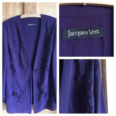 Amabile Jacques Vert Taglia 14 Ricamata Con Perline Viola Da Sera Giacca Fascetta Di Fissaggio- Prezzo Moderato