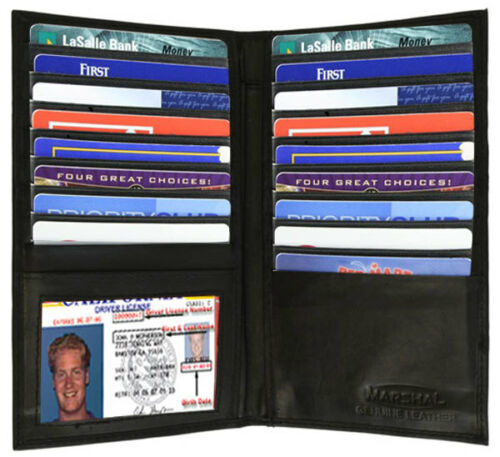 Black RFID Block Leather Bifold Checkbook Wallet 19 Card ID Holder USA Seller
