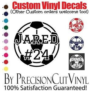 Details about Custom Soccer Vinyl Decal with Name - Car Outdoor Window Team  Adhesive Number