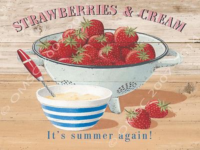 Strawberries Metal Sign, Seasonal Summer Fruit, Vintage Kitchen Utensils, Cafe