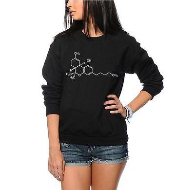 Women/'s Black Jumper THC Compound Chemistry Cannabis Weed Compound Sweatshirt