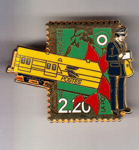 RARE-PINS-PIN-039-S-PTT-TRAIN-RAILWAYS-SNCF-3D-LA-POSTE-WAGON-OR-TIMBRE-N-291-BU