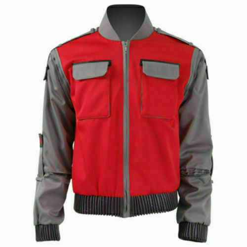 Back To the Future Marty Mcfly Jacket Cosplay Costume Adult Red Coat Any Size