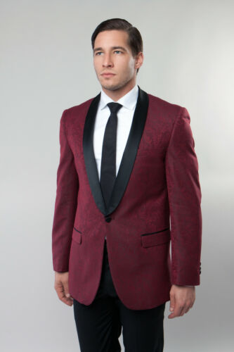 Men/'s Slim Fit Jacquard Shawl Collar Blazer Damask Sport Coat Tuxedo Suit Jacket