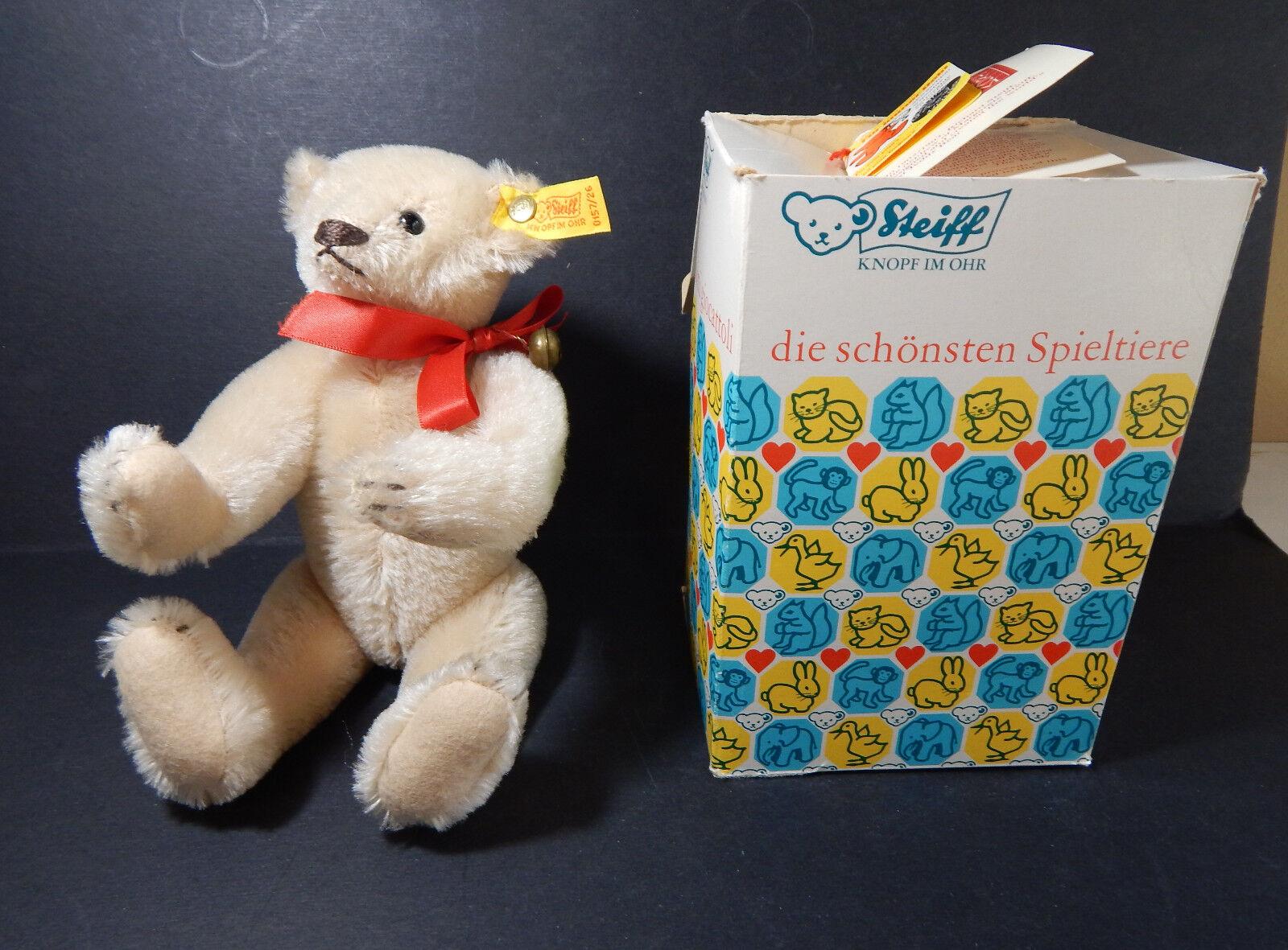 STEIFF 1904 TEDDY BEAR REPLICA  jointed EAR BUTTON   0157/26 Original Box & Tags
