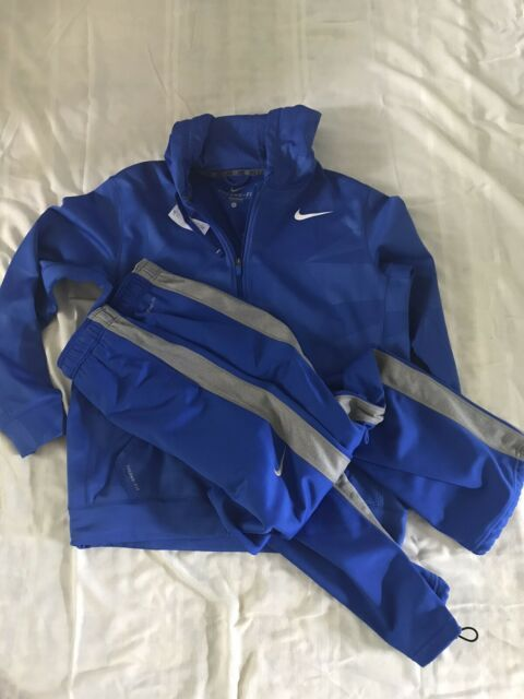 NIKE THERMA DRI-FIT SWEATSUIT BLUE ZIPPER HOODIE + BLUE PANTS   (LARGE)