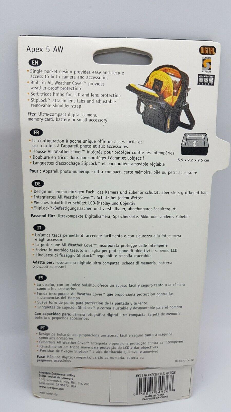 Brand New Lowepro Apex 5 AW Digital Camera Bag Black/Blue