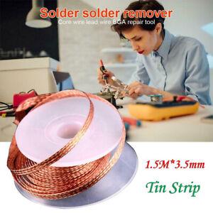 3.5mm Desoldering Braid Solder Remover Wick Copper Spool Wire 1.5M Useful Tool ~