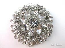 "Vintage Signed SHERMAN Crystal Clear Rhinestone Brooch Silver Tone 2 1/4"""