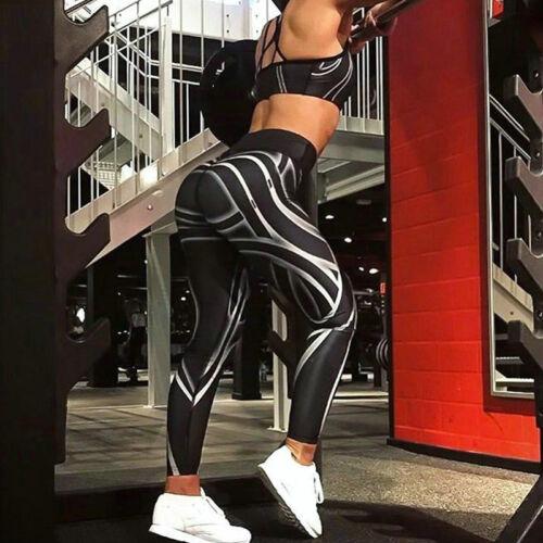 Damen Yoga Gym Fitness Lässig Sports Hohe Taille Jogginghose Laufhose Leggings