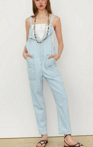 ZARA SS19 Long Soft Denim Slouch Jumpsuit With Pockets Light Blue XS S M L XL