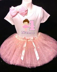 Ballerina party-With NAME-3rd Birthday Dress shirt 2pc fuchsia Tutu outfit Dance