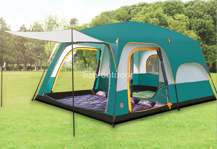 5-8 Person 3 Season Double Layers 2 Rooms Anti Hard Rain Big Family Camping Tent